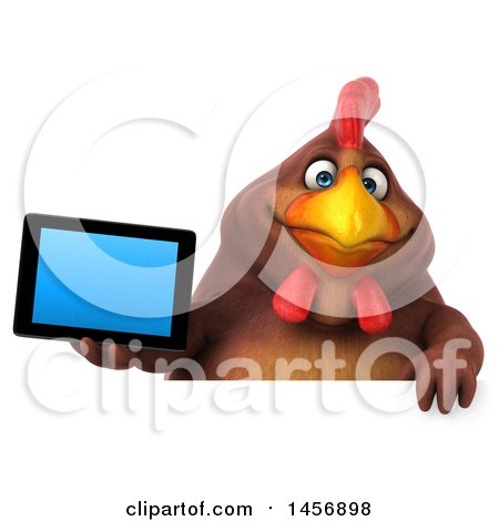 Clipart Graphic of a 3d Chubby Brown Chicken Holding a Tablet Computer, on a White Background - Royalty Free Illustration by Julos