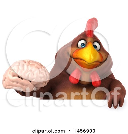 Clipart Graphic of a 3d Chubby Brown Chicken Holding a Brain, on a White Background - Royalty Free Illustration by Julos