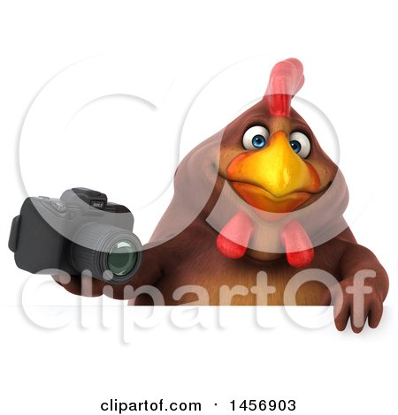 Clipart Graphic of a 3d Chubby Brown Chicken Holding a Camera, on a White Background - Royalty Free Illustration by Julos