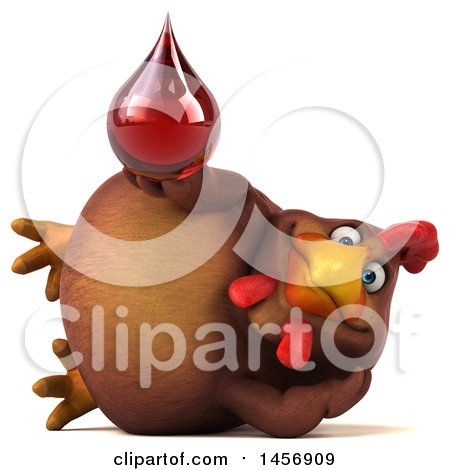 Clipart Graphic of a 3d Chubby Brown Chicken Holding a Blood Drop, on a White Background - Royalty Free Illustration by Julos