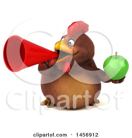 Clipart Graphic of a 3d Chubby Brown Chicken Holding a Green Apple, on a White Background - Royalty Free Illustration by Julos