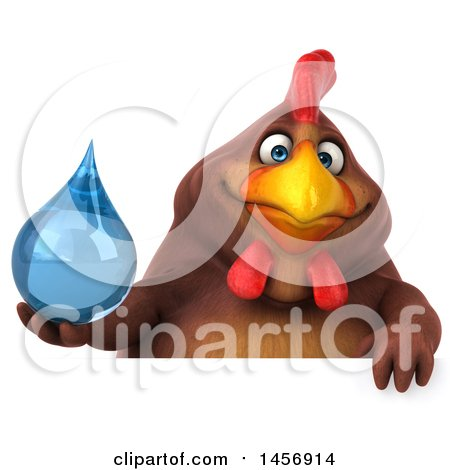 Clipart Graphic of a 3d Chubby Brown Chicken Holding a Water Drop, on a White Background - Royalty Free Illustration by Julos