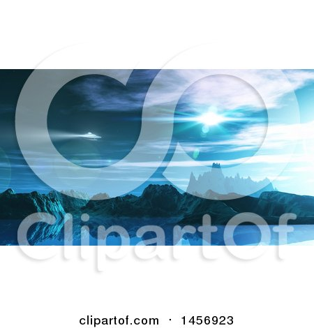 Clipart of a 3d Ufo over a Fictional Landscape - Royalty Free Illustration by KJ Pargeter