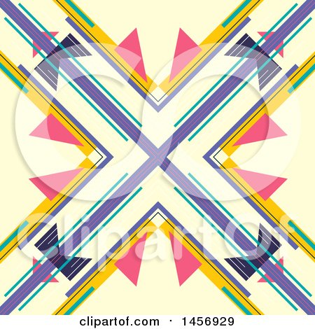 Clipart of a Abstract Colorful X Background Design - Royalty Free Vector Illustration by KJ Pargeter