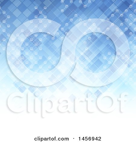Clipart of a Blue Lattice and Connection Background - Royalty Free Vector Illustration by KJ Pargeter