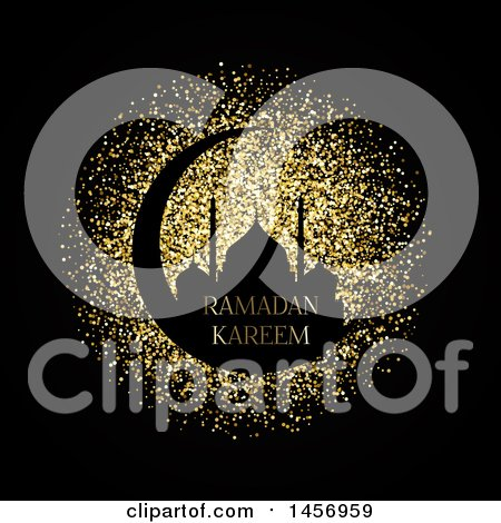 Clipart of a Silhouetted Mosque on a Crescent Moon with Ramadan Kareem Text over Gold Glitter on Black - Royalty Free Vector Illustration by KJ Pargeter