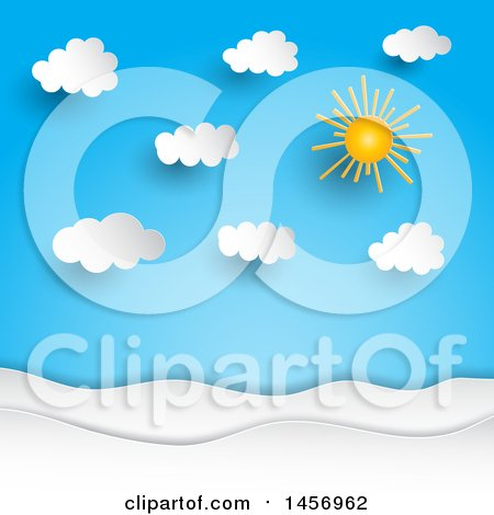 Clipart of a Paper Cut out Styled Sun Shining in a Blue Sky with Puffy Clouds - Royalty Free Vector Illustration by KJ Pargeter