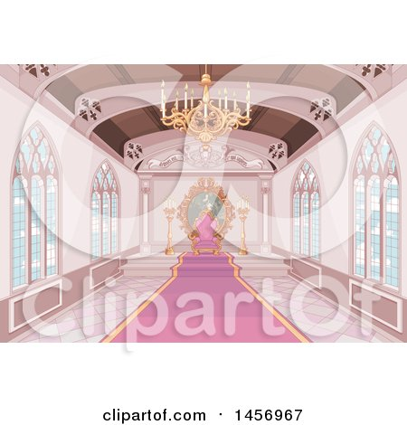 Clipart of a Pink Medieval Castle Interior with a Carpet Leading to a Throne - Royalty Free Vector Illustration by Pushkin