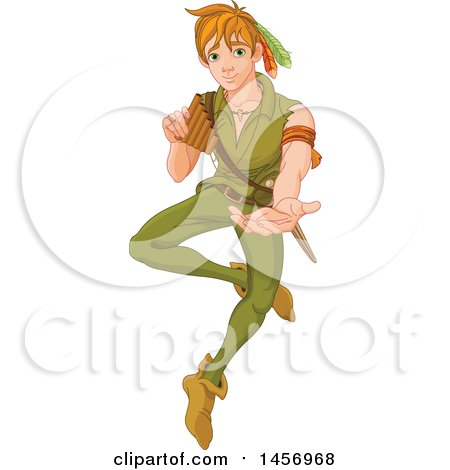 clipart of a flying man peter pan holding a pipe and a hand out royalty free vector illustration by pushkin