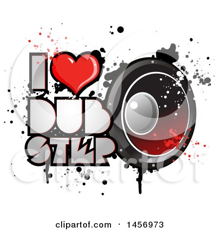 Clipart of a Heart in an I Lopve Dubstep Design with a Music Speaker and Splatters - Royalty Free Vector Illustration by Domenico Condello