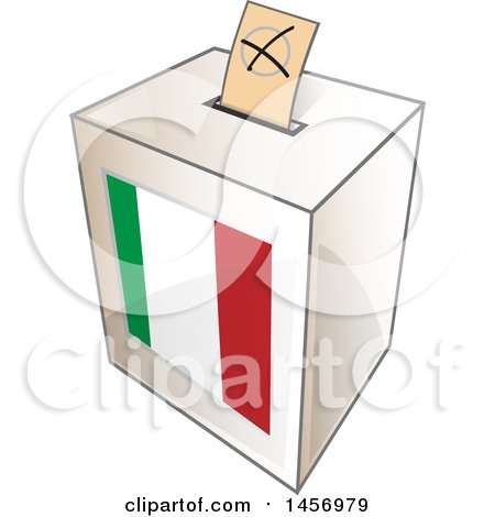 Clipart of a Ballot in the Slot of an Italian Flag Election Voting Box - Royalty Free Vector Illustration by Domenico Condello