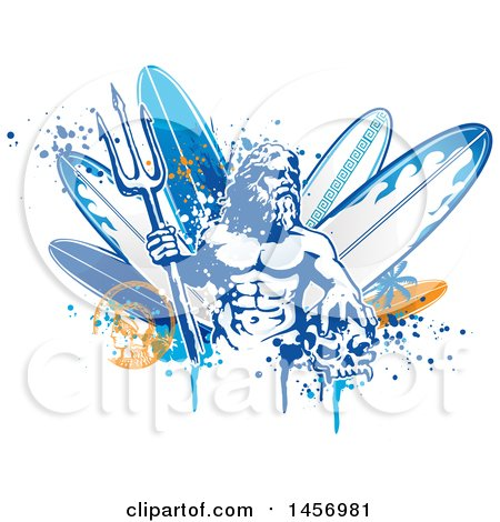 Clipart of Poseidon Holding a Trident over Surfboards, with a Skull, Splatters and Palm Tree - Royalty Free Vector Illustration by Domenico Condello