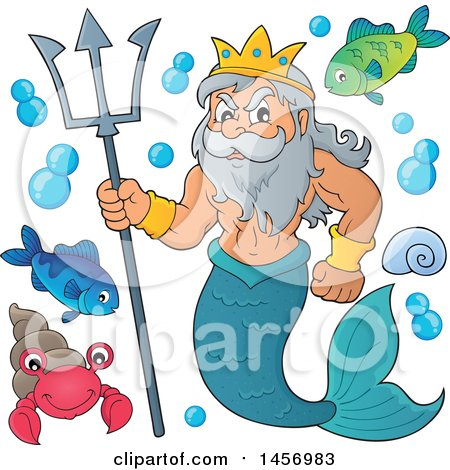 Merman, Poseidon, Holding a Trident and Sea Creatures Posters, Art Prints