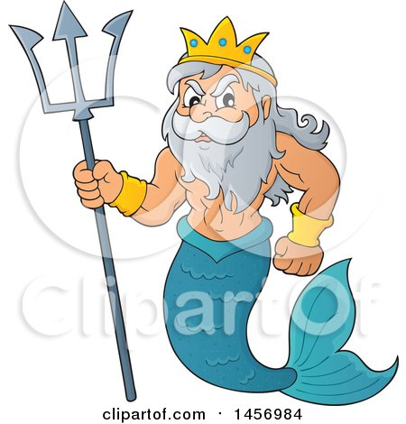 Clipart of a Merman, Poseidon, Holding a Trident - Royalty Free Vector Illustration by visekart