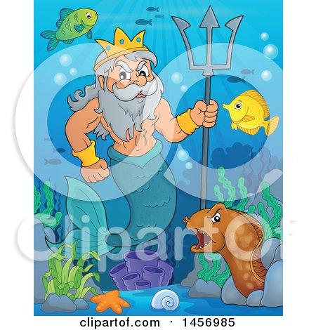 Merman, Poseidon, Holding a Trident near Sea Creatures Posters, Art Prints
