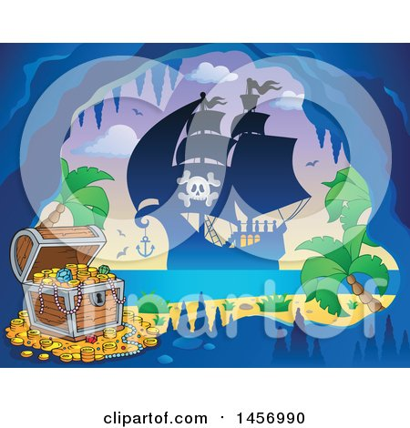 Clipart of a Silhouetted Pirate Ship near a Pirate Cave on an Island - Royalty Free Vector Illustration by visekart