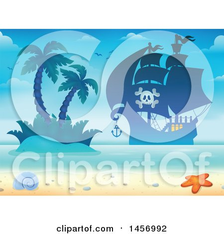 Clipart of a Silhouetted Pirate Ship near an Island and Beach - Royalty Free Vector Illustration by visekart