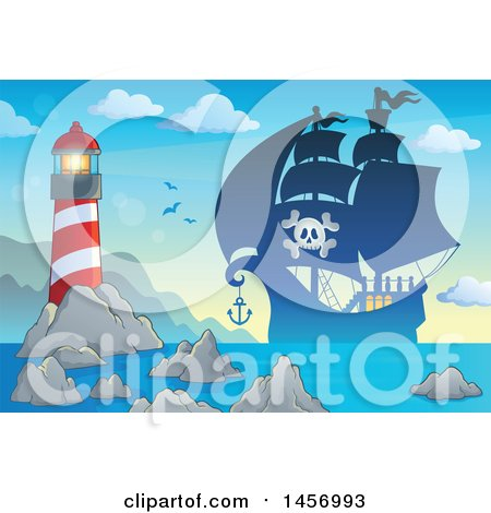 Clipart of a Silhouetted Pirate Ship near a Lighthouse at Sunrise or Sunset - Royalty Free Vector Illustration by visekart