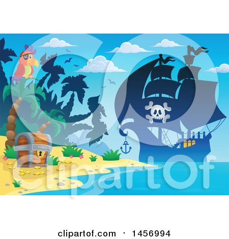 Clipart of a Silhouetted Pirate Ship near a Beach with a Parrot and Treasure Chest - Royalty Free Vector Illustration by visekart