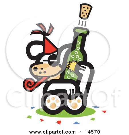 Dog Popping a Cork Off of a Bottle of Champagne at a New Year's Party Clipart Illustration by Andy Nortnik