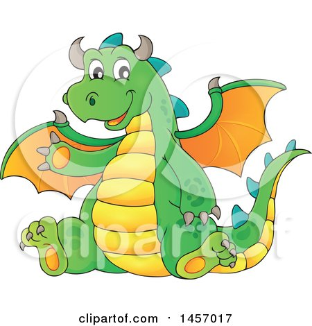 Clipart of a Cartoon Green Dragon Waving and Sitting - Royalty Free Vector Illustration by visekart