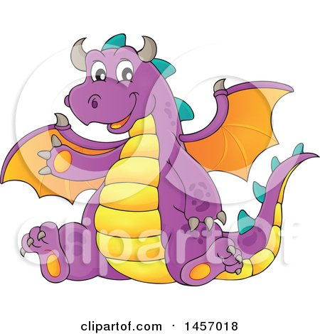 Clipart of a Cartoon Purple Dragon Waving and Sitting - Royalty Free Vector Illustration by visekart