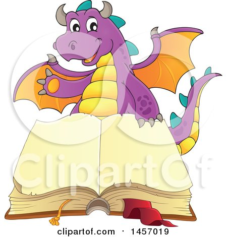 Clipart of a Cartoon Purple Dragon Waving over a Book - Royalty Free Vector Illustration by visekart