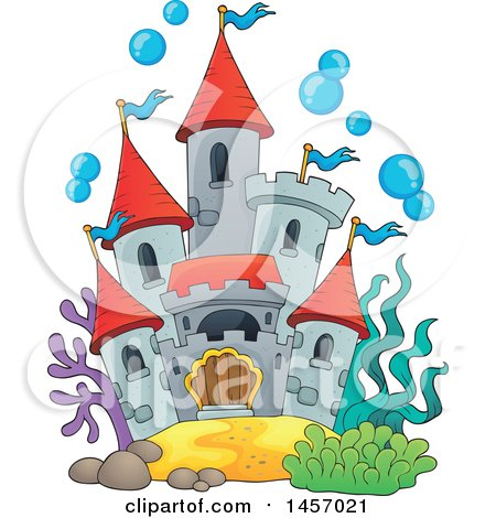 Clipart of a Castle Under the Sea, or in a Fish Tank, with Bubbles - Royalty Free Vector Illustration by visekart