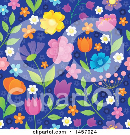Clipart of a Seamless Background Pattern of Flowers on Blue - Royalty Free Vector Illustration by visekart