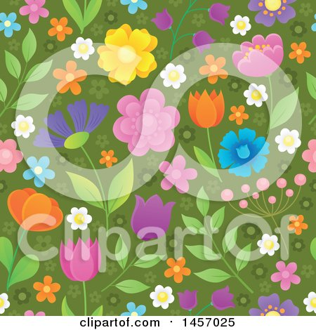Clipart of a Seamless Background Pattern of Flowers on Green - Royalty Free Vector Illustration by visekart