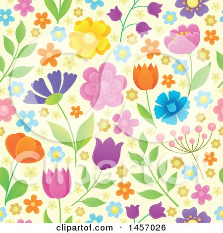 Clipart of a Seamless Background Pattern of Flowers on Pastel Yellow - Royalty Free Vector Illustration by visekart