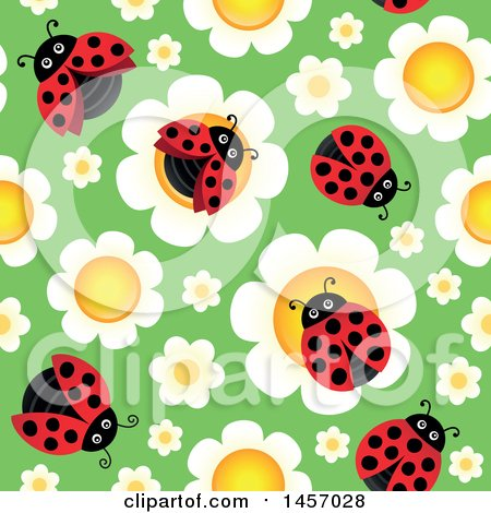 Clipart of a Seamless Background of Laydbugs on Flowers over Green - Royalty Free Vector Illustration by visekart