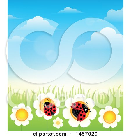 Clipart of a Background of Blue Sky with Clouds, Grass and Laydbugs on Flowers - Royalty Free Vector Illustration by visekart