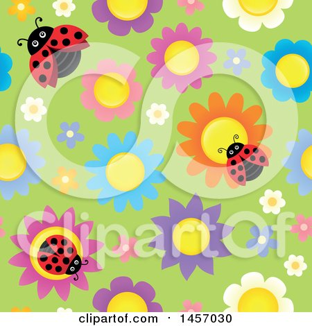 Clipart of a Seamless Background of Laydbugs on Colorful Flowers over Green - Royalty Free Vector Illustration by visekart