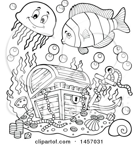 clipart of a black and white sunken treasure chest and fish royalty free vector illustration by visekart - Sunken Pirate Ship Coloring Pages