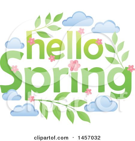 Clipart of a Hello Spring Design with Pink Flowers, Leaves and Clouds - Royalty Free Vector Illustration by visekart