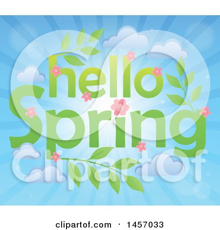Clipart of a Hello Spring Design with Pink Flowers, Leaves and Clouds over Sun Rays - Royalty Free Vector Illustration by visekart