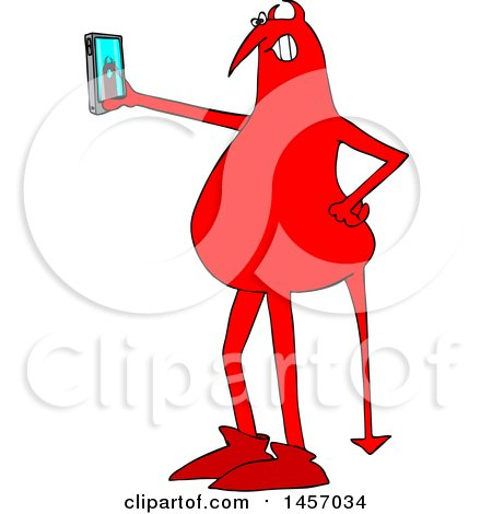 Clipart of a Cartoon Red Devil Taking a Selfie with a Cell Phone - Royalty Free Vector Illustration by djart