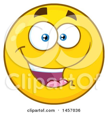 clipart of a cartoon happy yellow emoji smiley face royalty free rh clipartof com
