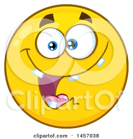 Clipart of a Cartoon Goofy Yellow Emoji Smiley Face - Royalty Free Vector Illustration by Hit Toon
