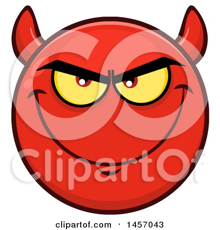 Clipart of a Cartoon Devil Emoji Smiley Face - Royalty Free Vector Illustration by Hit Toon
