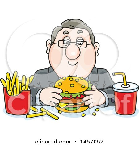 Clipart of a Cartoon White Business Man Eating a Cheeseburger, Fries and Soda for Lunch - Royalty Free Vector Illustration by Alex Bannykh