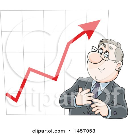 Clipart of a Cartoon White Business Man in Front of a Growth Chart - Royalty Free Vector Illustration by Alex Bannykh