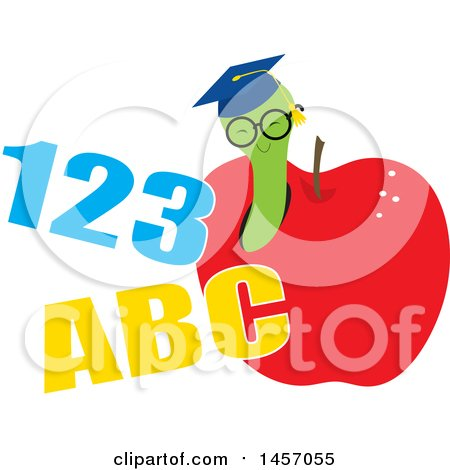 Clipart of a Graduate Worm Wearing a Hat and Emerging from an Apple with Abc 123 - Royalty Free Vector Illustration by Maria Bell