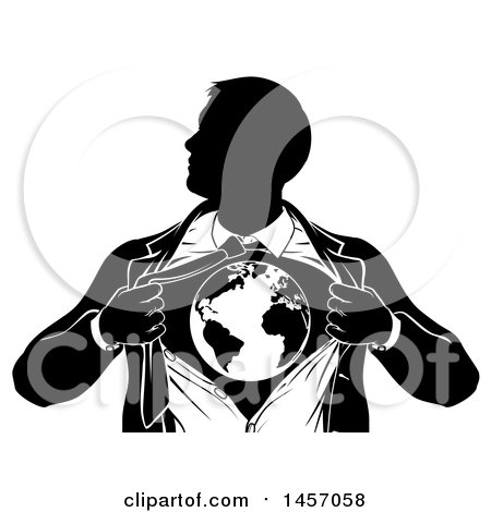 Clipart of a Black and White Silhouetted Strong Business Man Super Hero Ripping off His Suit and Revealing Earth - Royalty Free Vector Illustration by AtStockIllustration