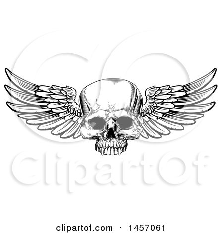 Clipart of a Black and White Woodcut Etched or Engraved Winged Human Skull - Royalty Free Vector Illustration by AtStockIllustration