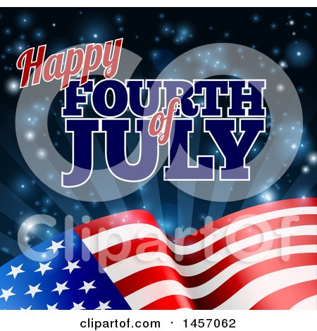 Clipart of a 3d American Flag and Fourth of July Text over Rays and Flares - Royalty Free Vector Illustration by AtStockIllustration