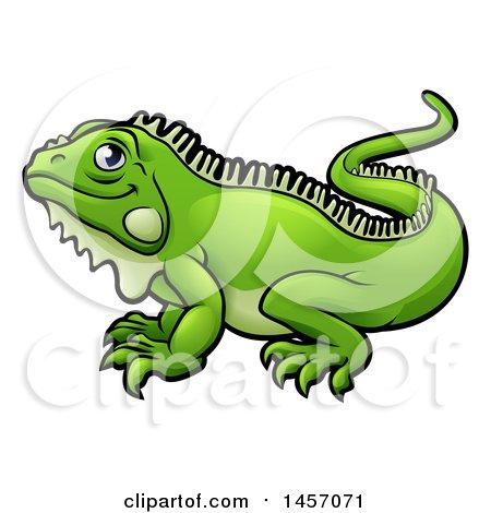 Clipart of a Cartoon Happy Green Iguana Lizard - Royalty Free Vector Illustration by AtStockIllustration