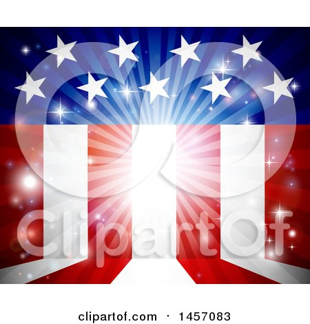 Clipart of a Background of Flares and American Stars and Stripes - Royalty Free Vector Illustration by AtStockIllustration