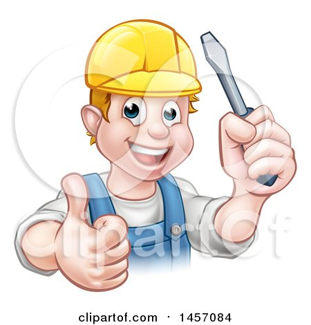 Clipart of a Cartoon Happy White Male Electrician Holding up a Screwdriver and a Thumb - Royalty Free Vector Illustration by AtStockIllustration
